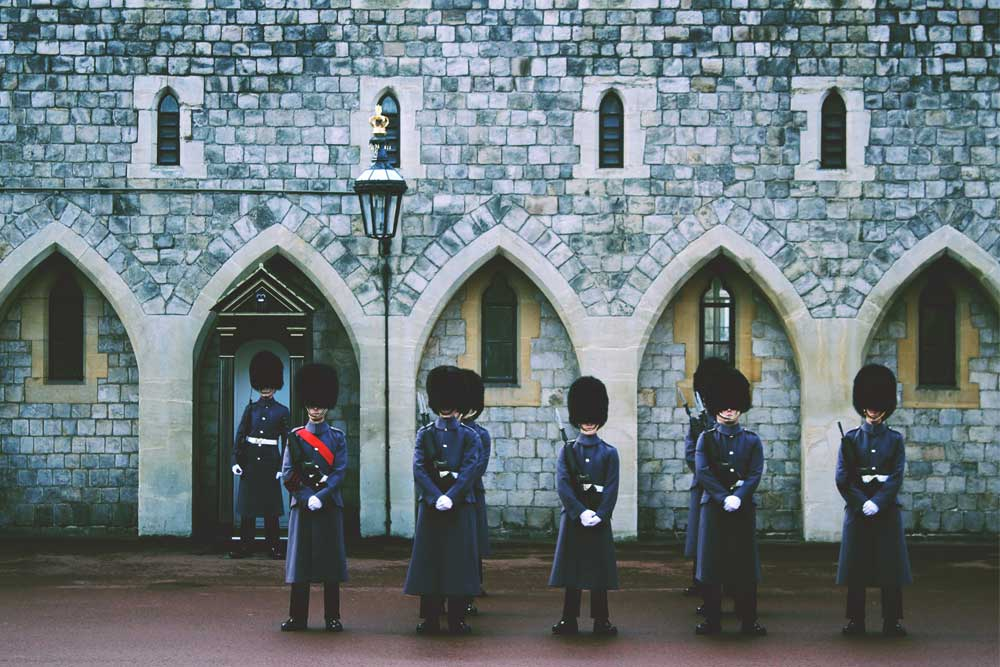 Queen's Guard Standing Guard in Front of Castle